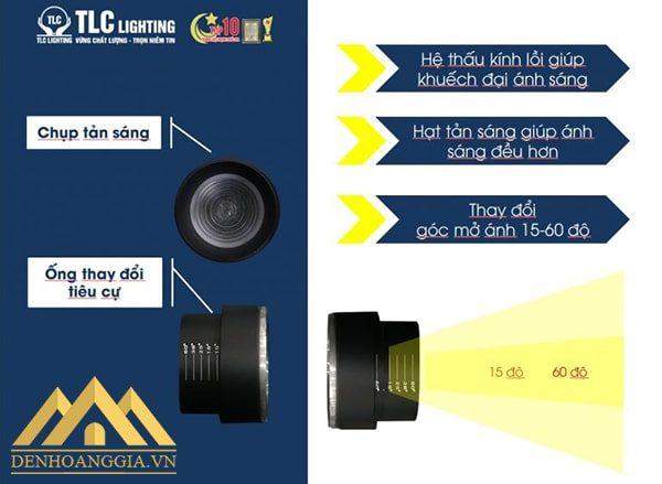 Đèn led rọi ray ZOOM 10w vỏ trắng TLC có cải tiến vượt bậc trong thiết kế giúp đèn có thể thay đổi được tiêu cự ánh sáng theo nhu cầu của khách hàng
