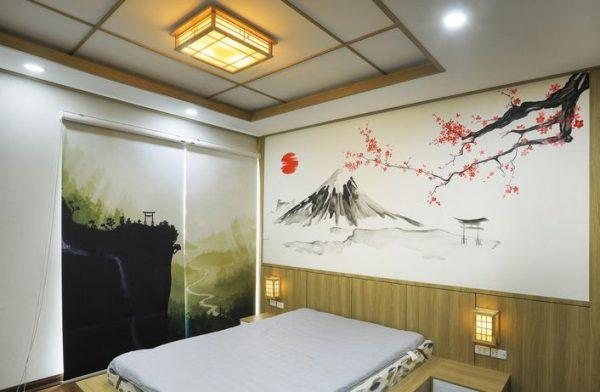 Phòng ngủ mang đậm phong cách Nhật với giường trệt và tranh dán tường
