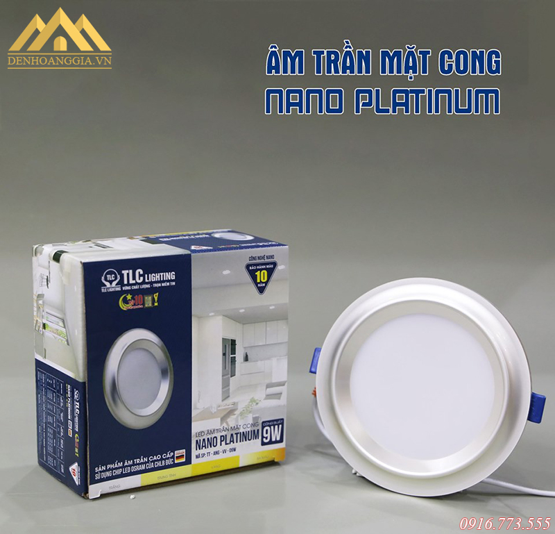 Bộ đèn led âm trần mặt cong Nano Platinum
