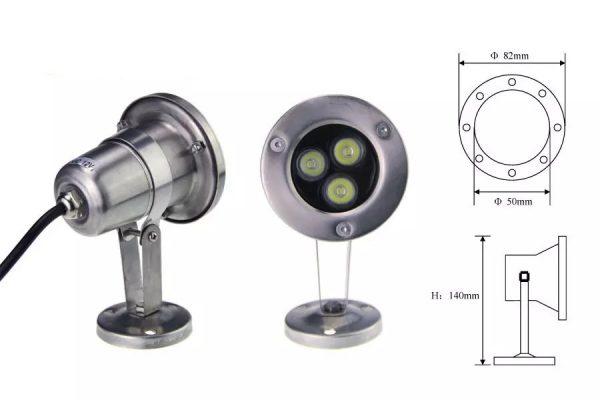 Cấu tạo của đèn led dưới nước 3w có ánh sáng chiếu điểm