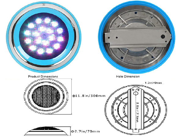 Thiết kế thon gọn, màu sắc hài hòa khi kết hợp đèn âm nước đẹp với hồ bơi