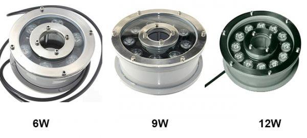 Một số công suất của đèn led trang trí dưới nước bánh xe được nhiều khách hàng lựa chọn