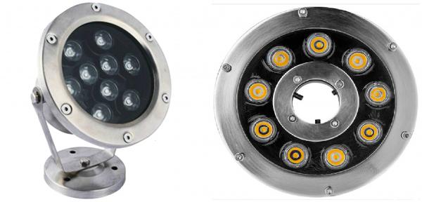 Đèn led dưới nước 9w có hai kiểu dáng cơ bản là dạng đế và dạng bánh xe