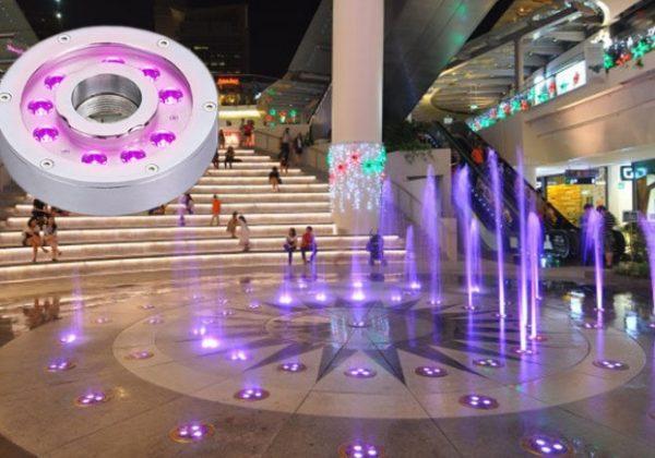 Đèn led trang trí dưới nước bánh xe sử dụng cho đài phun nước tại sảnh chính của trung tâm thương mại