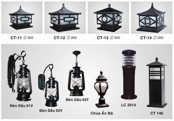 Đèn trụ cổng ngoài trời đa dạng về mẫu mã bạn dễ dàng chọn lựa để lắp đặt cho cổng nhà và sân vườn