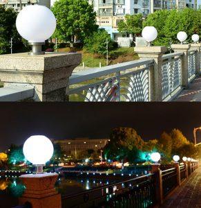 Lựa chọn đèn trang trí trụ cổng hình tròn để lắp đặt ở tường rào quanh hồ tạo điểm nhấn nổi bật
