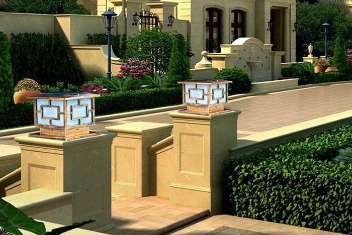 Đèn trụ cổng hiện đại đẹp thiết kế họa tiết đơn giản những vẫn đem lại vẻ đẹp tinh tế