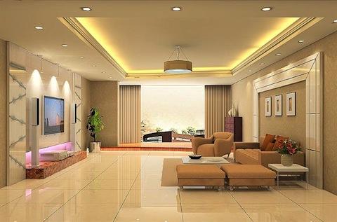 Sử dụng đèn led âm trần mặt cong Nano Platinum 7w trang trí và chiếu sáng cho phòng khách