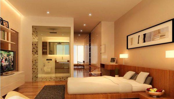 Phòng ngủ sử dụng đèn led âm trần mặt cong Nano Platinum ánh sáng vàng đem lại cảm giác ấp ấp và gần gũi