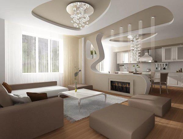 trần thạch cao phòng khách liền với phòng bếp