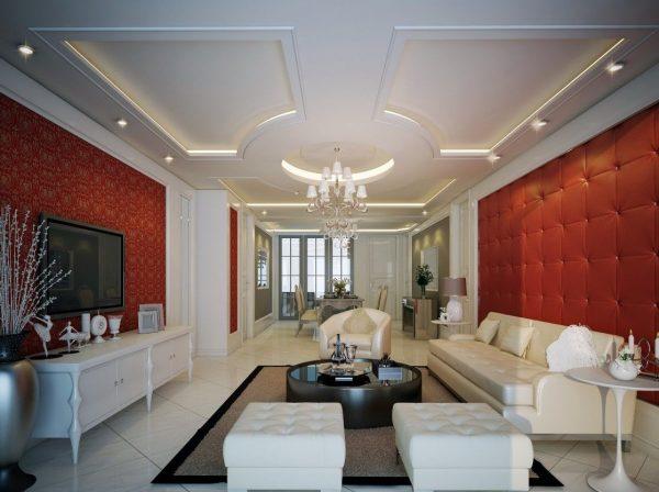 Mẫu trần thạch cao phòng khách tân cổ điển sang trọng