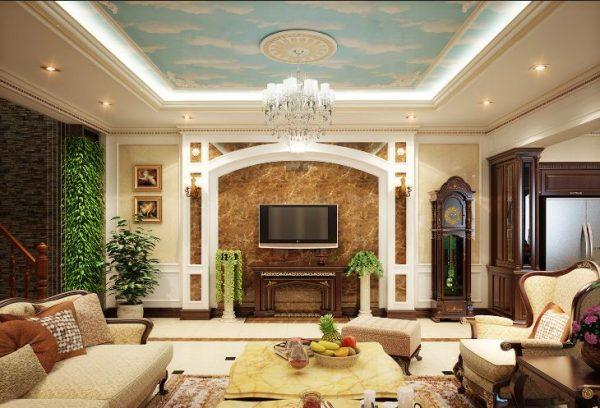Mẫu số 10: Phòng khách cổ điển theo phong cách Đông Dương
