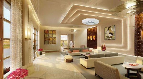 Phòng khách hiện đại với chiếu sáng gián tiếp từ đèn hắt khe trần và tường