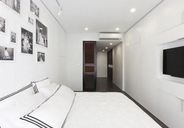 Phòng ngủ chung cư dùng đèn led âm trần siêu mỏng