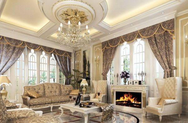 Mẫu trần thạch cao phòng khách cổ điển sang trong, quý phái