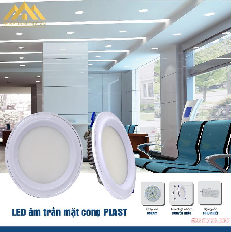 Ứng dụng đèn led âm trần mặt cong Nano Plast