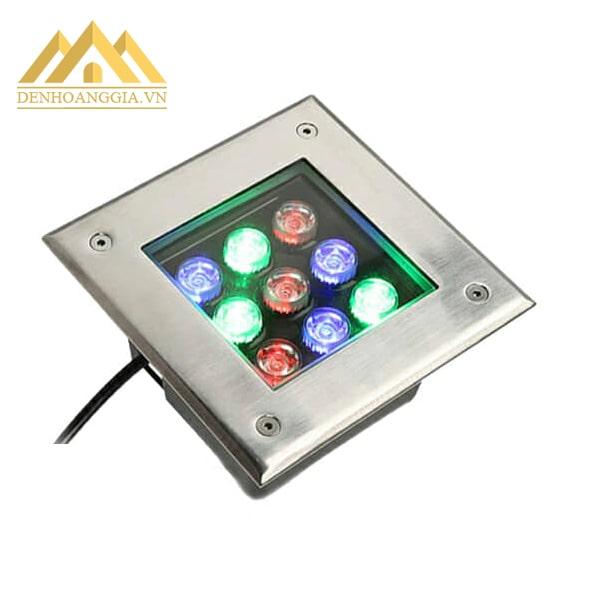 Đèn âm sàn ngoài trời đổi màu thay đổi màu sắc ánh sáng qua bộ điều khiển từ xa