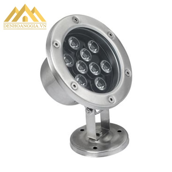 Đèn led âm nước spotlight 9w dạng đế có thiết kế bề mặt hình tròn và có lớp kính cường lực để bảo vệ