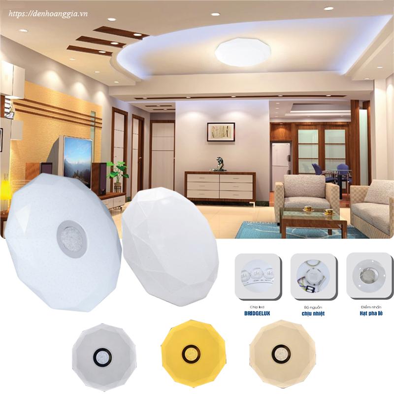 Sử dụng đèn led ốp trần trang trí cho phòng khách sử dụng trần bê tông