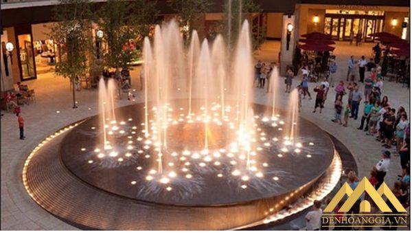 Đèn led âm nước bánh xe 6w lắp đặt trong các đài phun nước ở trung tâm thương mại