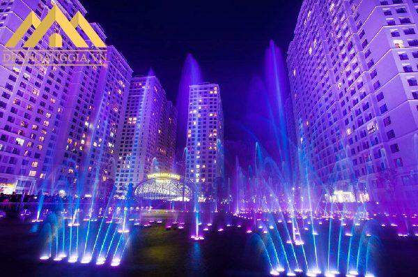 Đèn led âm nước spotlight 36w dạng đế được lắp đặt để trang trí tại sảnh chính của các tòa nhà