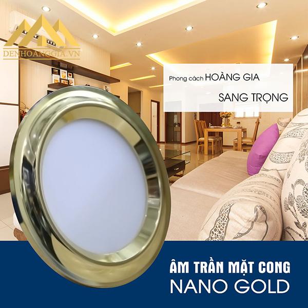 Thiết kế đèn led âm trần măt cong Nano Gold viền vàng theo phong cách hoàng gia, sang trọng