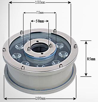 Kích thước đèn led âm nước bánh xe 9w lắp với vòi phun có đường kính là 50mm