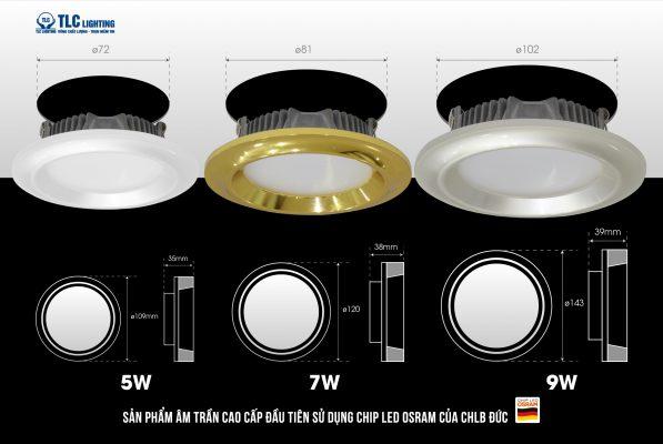 Kích thước khoét lỗ các công suất của đèn led âm trần mặt cong Nano