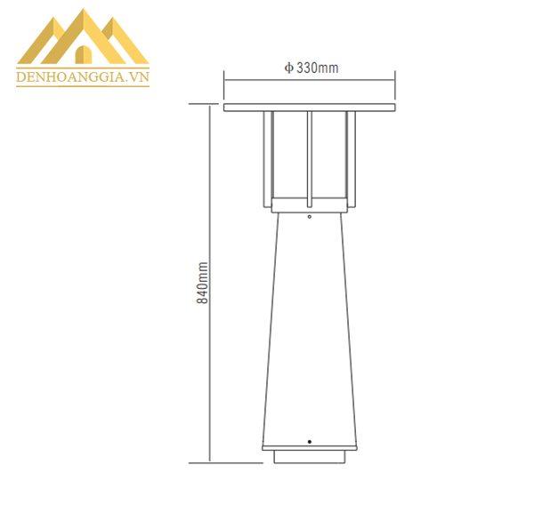Kích thước đèn trụ sân vườn HGA-TSV22