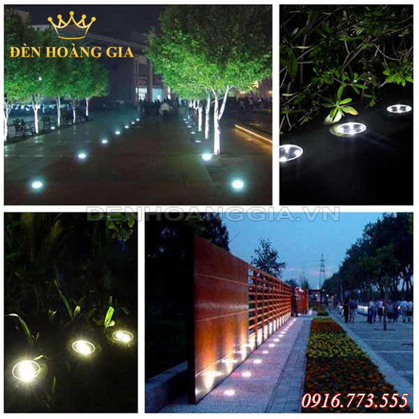 Dùng đèn âm đất để chiếu cây ngoài trời