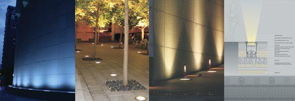 Đèn led âm sàn có nguồn ánh sáng chiếu hắt từ dưới lên tạo điểm nhấn nổi bật cho không gian