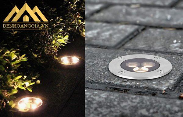 Sử dụng đèn led âm đất chiếu lối đi, khóm cây tạo điểm nhấn nổi bật