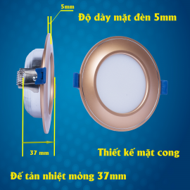 Thiết kế đèn led âm trần mặt cong đế mỏng