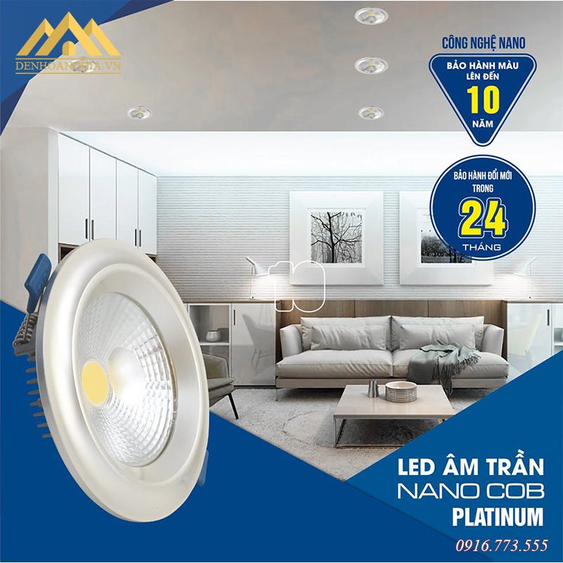 Đèn led âm trần Nano COB Platinum 7w viền bạch kim 3 màu