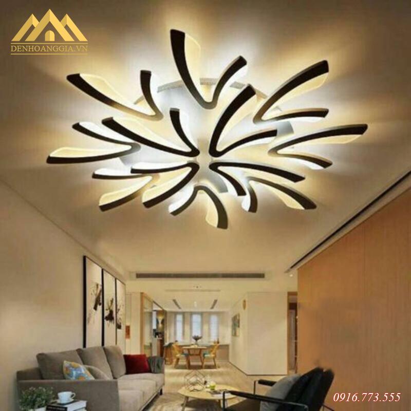 Đèn mâm led mica Rolux-TT1 trang trí cho phòng khách