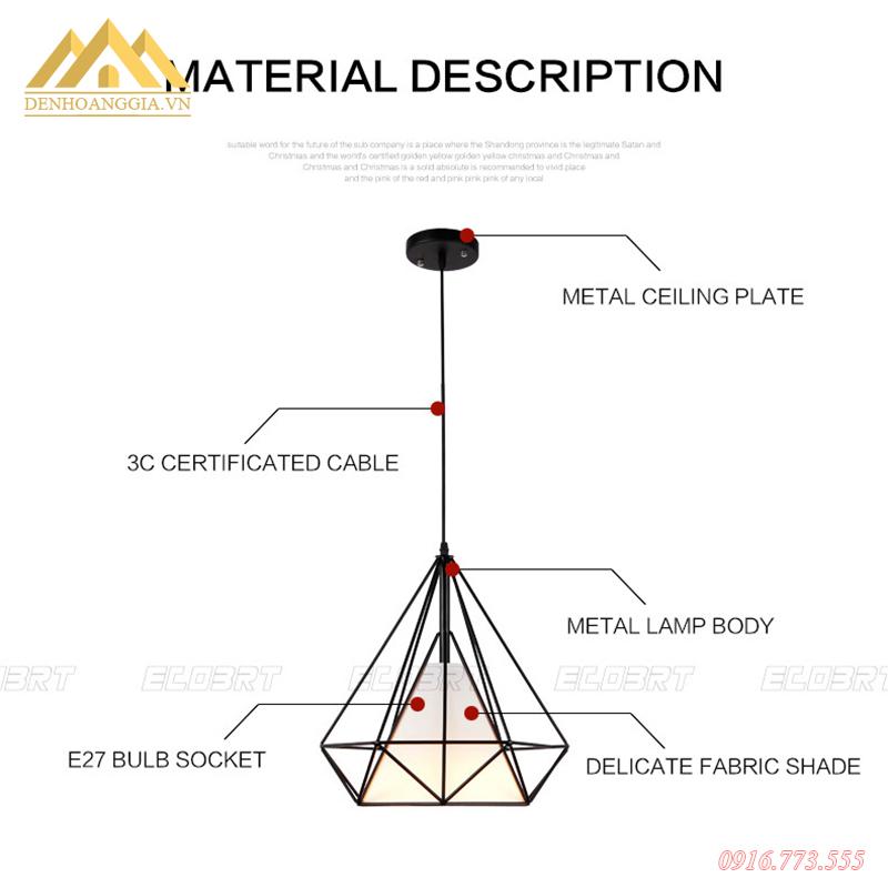 Cấu tạo đèn thả trần kim cương HGA-TH007
