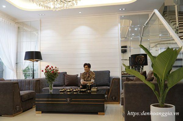 Đèn led âm trần COB đôi 3 màu lắp tại biệt thự của Ca sĩ Quang Hà