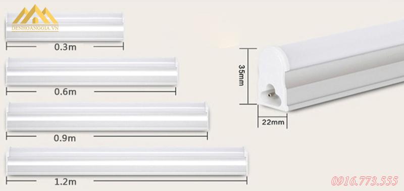 Các loại kích thước của đèn tuýp led T5