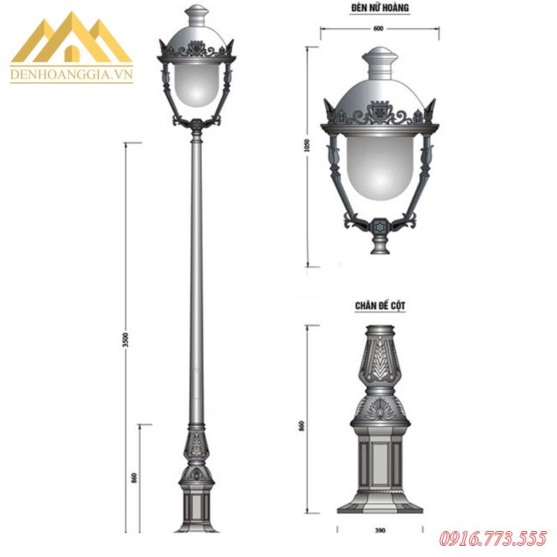 Cấu tạo cột đèn trụ sân vườn HGA-DC05B