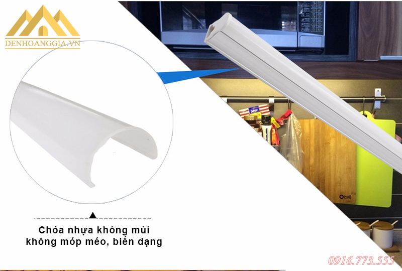 Chóa nhựa của đèn tuýp led T5 giúp đèn tán quang ánh sáng tốt hơn