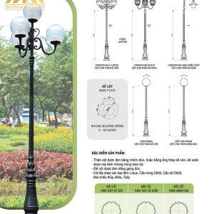 Thông số kỹ thuật cột đèn trụ sân vườn HGA-DC06