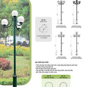 Thông số kỹ thuật cột đèn trụ sân vườn Nouvo