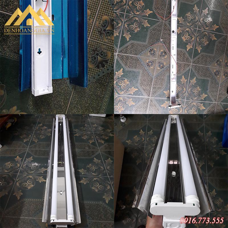 Máng đèn tuýp led chóa inox phản quang thiết kế đơn giản, lắp đặt dễ dàng