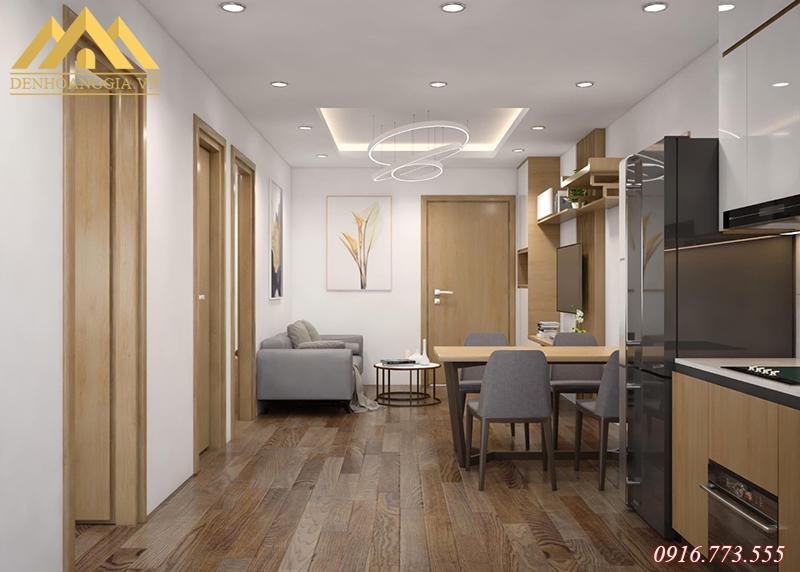 Thiết kế đèn led âm trần ở phòng khách kết hợp với đèn led thả trần trang trí tại KĐT Thanh Hà
