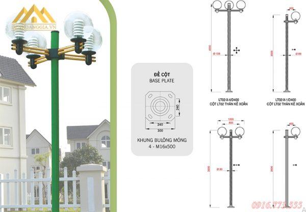 Kích thước của đèn trụ sân vườn Arlequin