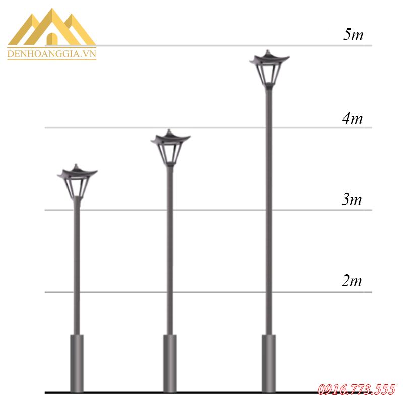Đèn trụ sân vườn có thể lắp đặt theo nhiều kích thước cột khác nhau