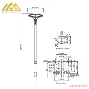 Kích thước cột đèn trụ sân vườn HGA-TSV60