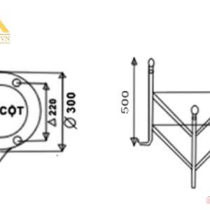 Kích thước đế trụ và tay của đèn trụ sân vườn HGA-TSV0028