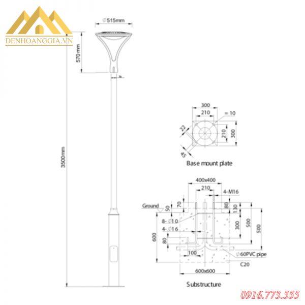 Kích thước đèn trụ sân vườn HGA-TSV35