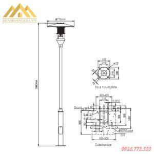 Kích thước của đèn trụ sân vườn HGA-TSV40